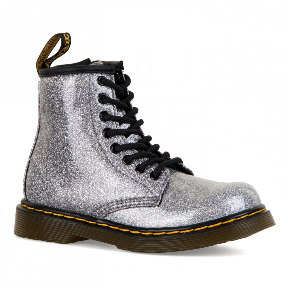 9c2ed2c05ed Dr. Martens Juniors 1460 Glitter Boots (Silver) - Kids from Loofes UK
