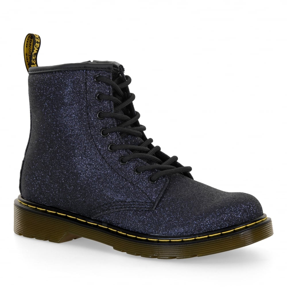 Dr. Martens Juniors Delaney Metallic Glitter Boots (Blue Black ... 2eb02cf5cad1