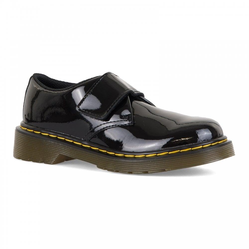 Martens Juniors Kamron Patent Shoes Dr Black