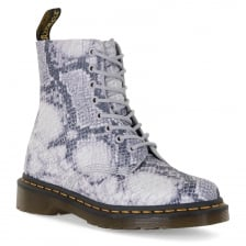 Dr. Martens Womens 1460 Pascal Snake Boots (Grey)