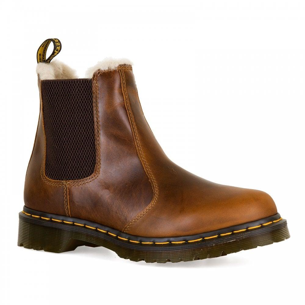 0280d07f57fb Dr. Martens Womens Leonore Fur Lined Chelsea Boots (Tan) - Womens ...