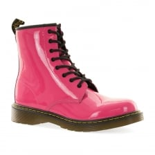 Dr. Martens Youths Delaney Patent 10-5 Boots (Pink)