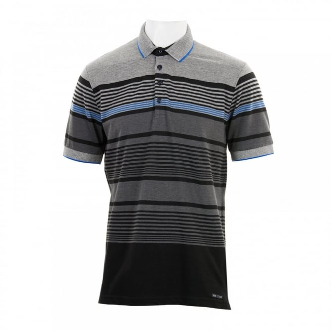 Duck And Cover Mens Affusion Stripe Polo Shirt (Black)