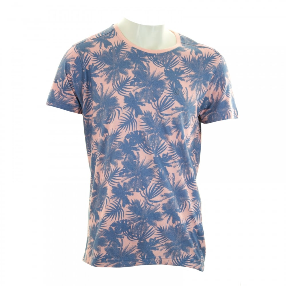 Duck and cover mens flower print t shirt champagne t for Flower print mens shirt