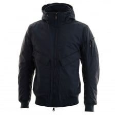 Duck And Cover Mens Hooded Bomber Jacket (Deep Navy)
