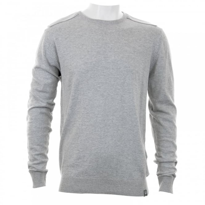 Duck And Cover Mens Patch Shoulder Knitwear (Light Grey)