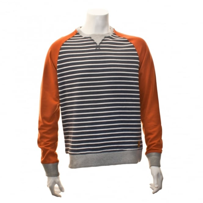 Duck And Cover Mens Taylor Stripe Sweat Top (Orange)