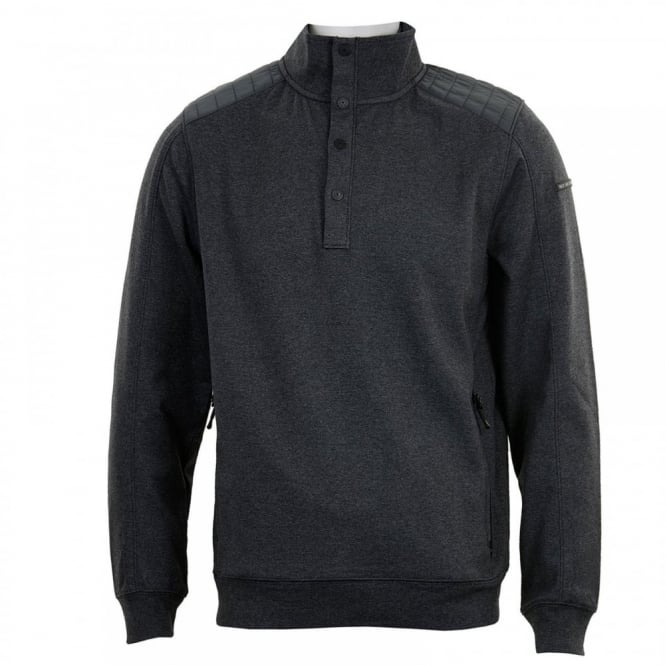 Duck And Cover Mens Utopia Button Neck Sweater (Anthracite)