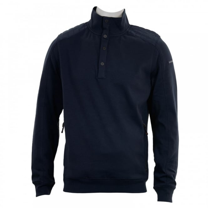 Duck And Cover Mens Utopia Button Neck Sweater (Navy)