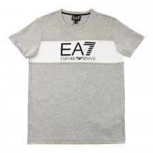 EA7 Juniors Panel Print T-Shirt (Grey/White)