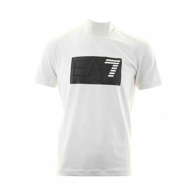 EA7 Mens 7 Line Chest Logo T-Shirt (White)