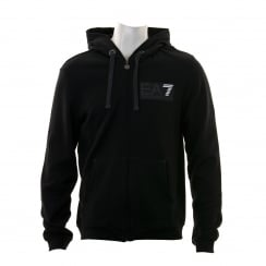 EA7 Mens 7 Line Logo Hooded Zip Sweatshirt (Black)