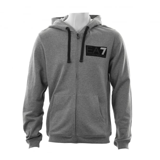 EA7 Mens 7 Line Logo Hooded Zip Sweatshirt (Grey)