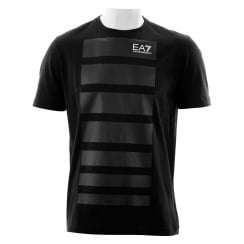 EA7 Mens 7 Line Print T-Shirt (Black)