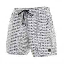 EA7 Mens Allover Logo Swim Shorts (White)