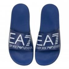 EA7 Mens Big Logo Slide Flip Flops (Blue)
