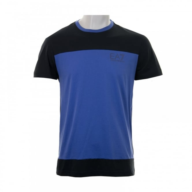 EA7 Mens Block Stripe T-Shirt (Blue)