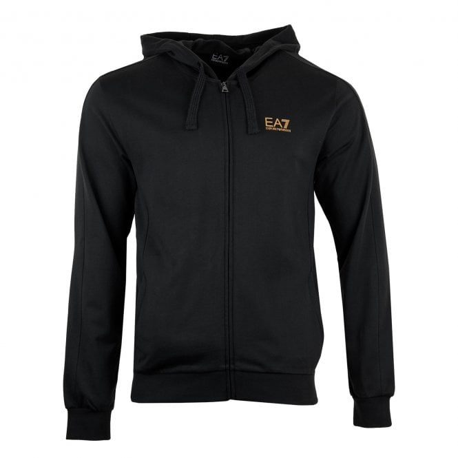 781adcb5d87a63 EA7 Mens Foil Logo Zip Hoodie (Black) - Mens from Loofes UK
