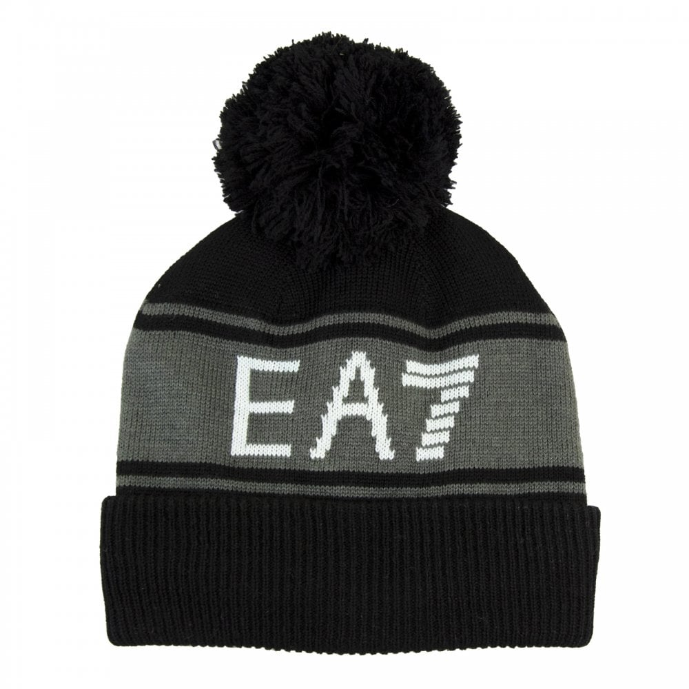 6e85f1dcd29 EA7 Mens Knitted Bobble Hat (Black) - Mens from Loofes UK