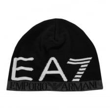 EA7 Mens Large Logo Knitted Beanie (Black)
