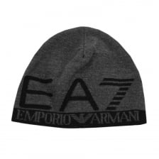 EA7 Mens Large Logo Knitted Beanie (Dark Grey)