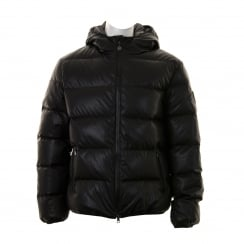 EA7 Mens Leather Look Quilted Jacket (Black)