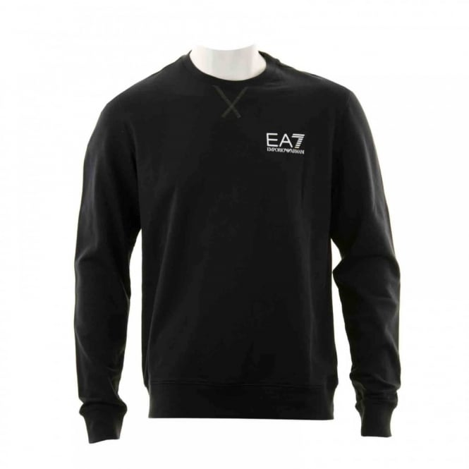 EA7 Mens Logo Crew Sweatshirt (Black)