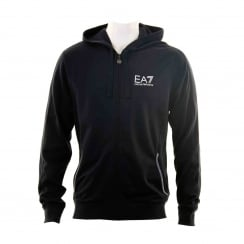 EA7 Mens Logo Hooded Zip Sweatshirt (Navy)