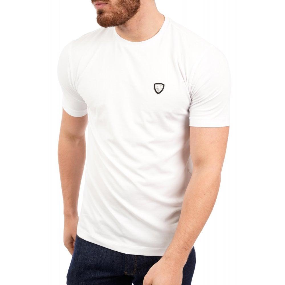 5e2b0a35 EA7 Mens Metal Badge Logo T-Shirt (White) - Mens from Loofes UK