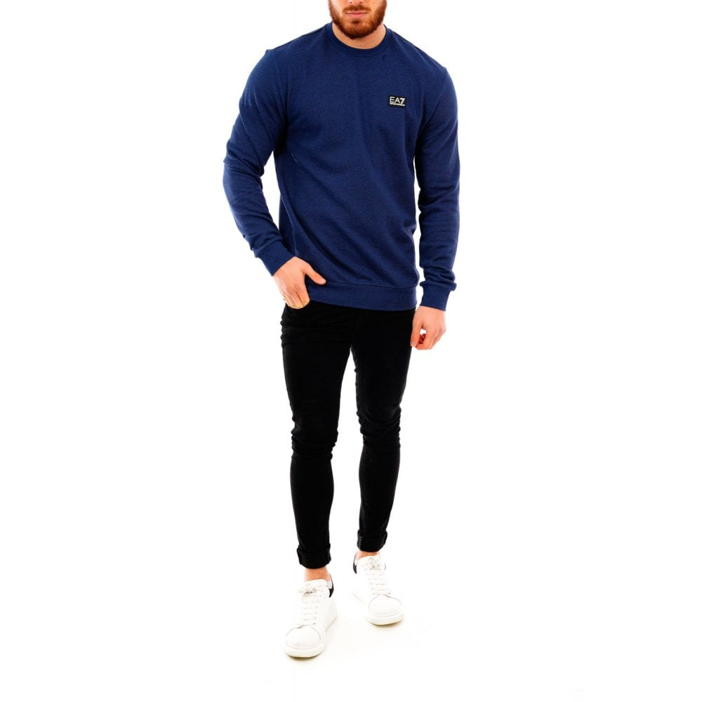 Blue EA7 Mens Patch Logo Crew Sweatshirt