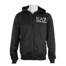 EA7 Mens Poly Hooded Track Top (Black)