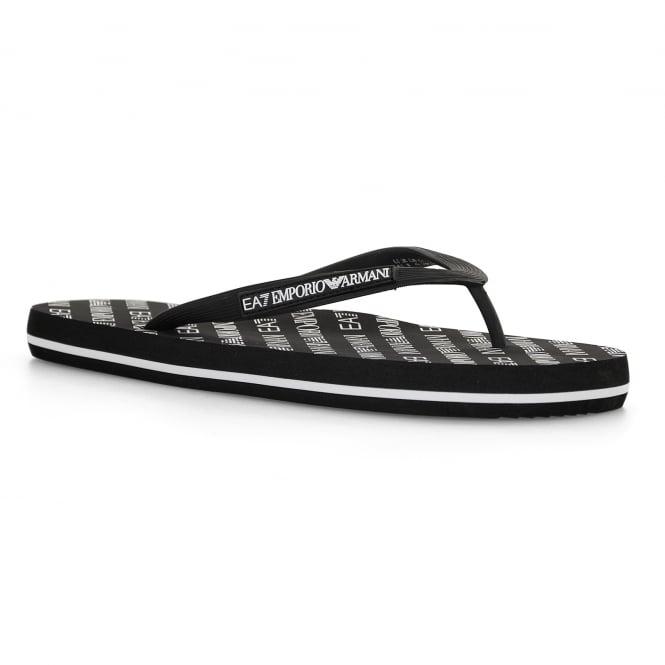 2bad77024fb3 EA7 Mens Sea World All Over Flip Flops (Black) - Mens from Loofes UK