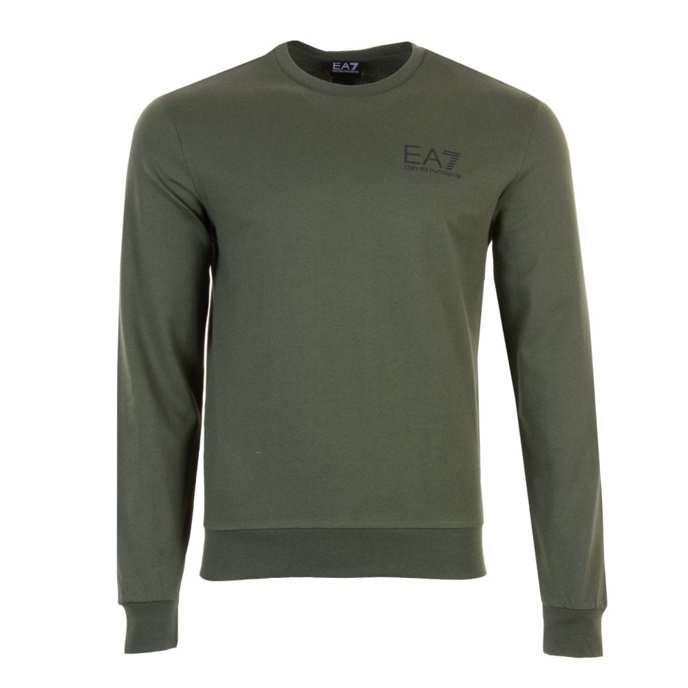 ddf8b50989ab EA7 Mens Small Logo Crew Sweatshirt (Forest) - Mens from Loofes UK