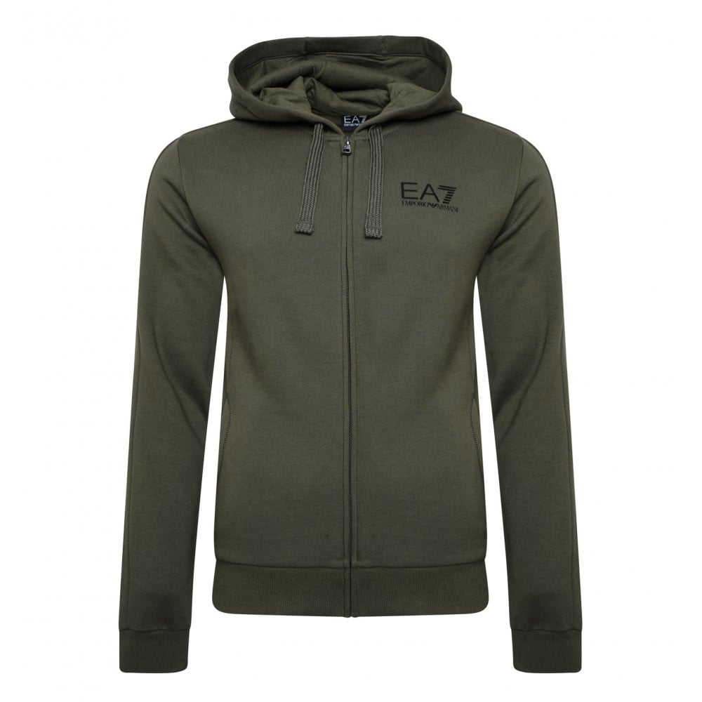 12ee227f65d1 EA7 Mens Small Logo Hooded Zip Sweatshirt (Forest) - Mens from Loofes UK