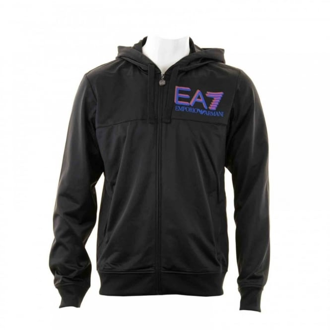 EA7 Mens Triple Logo Hooded Tracktop (Black)
