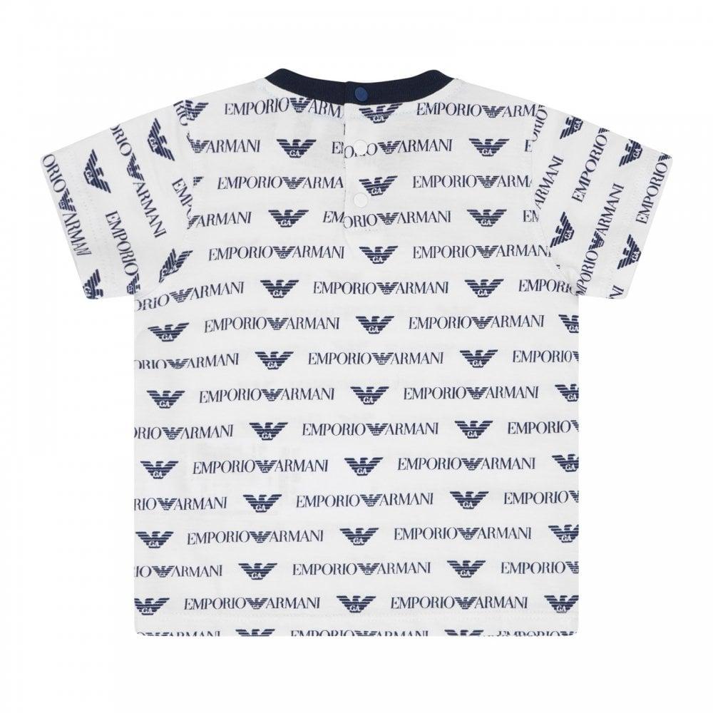 aeca02546 EMPORIO ARMANI Emporio Armani Infants All Over Logo T-Shirt (Cream ...