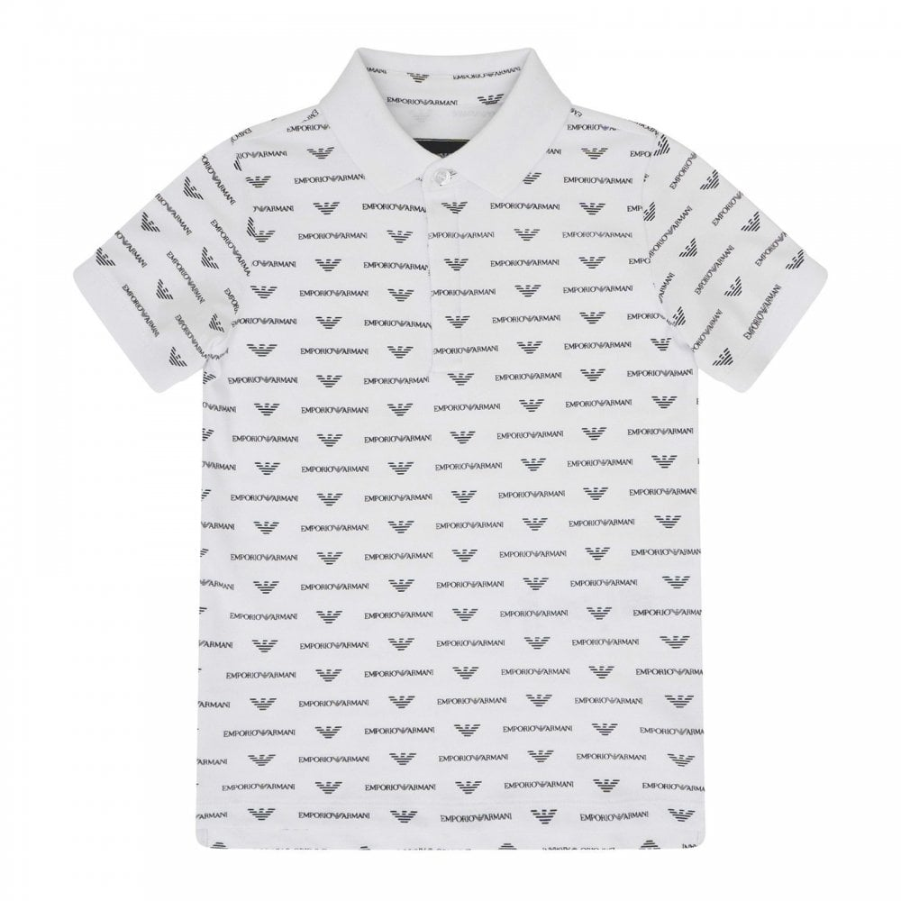 f98501939 EMPORIO ARMANI Emporio Armani Juniors All Over Logo Polo Shirt ...