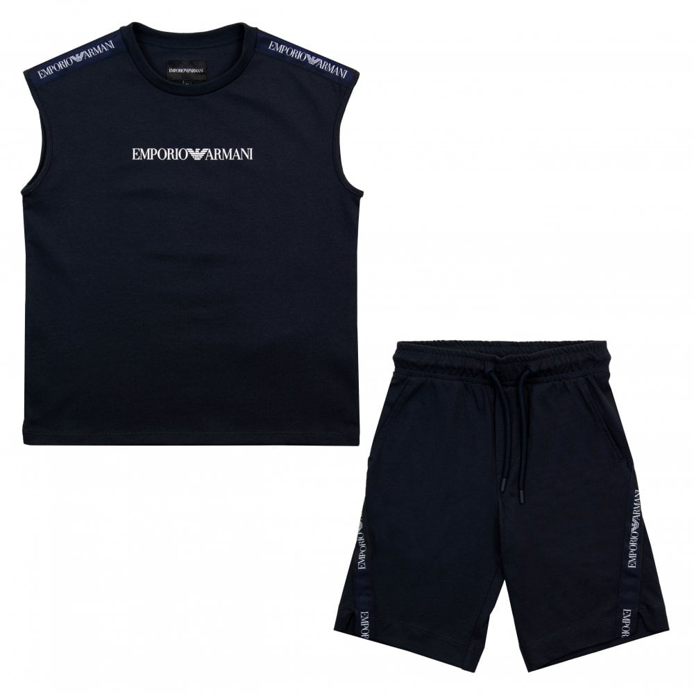 cad95c764a Juniors Logo Vest Top & Shorts Set (Navy)