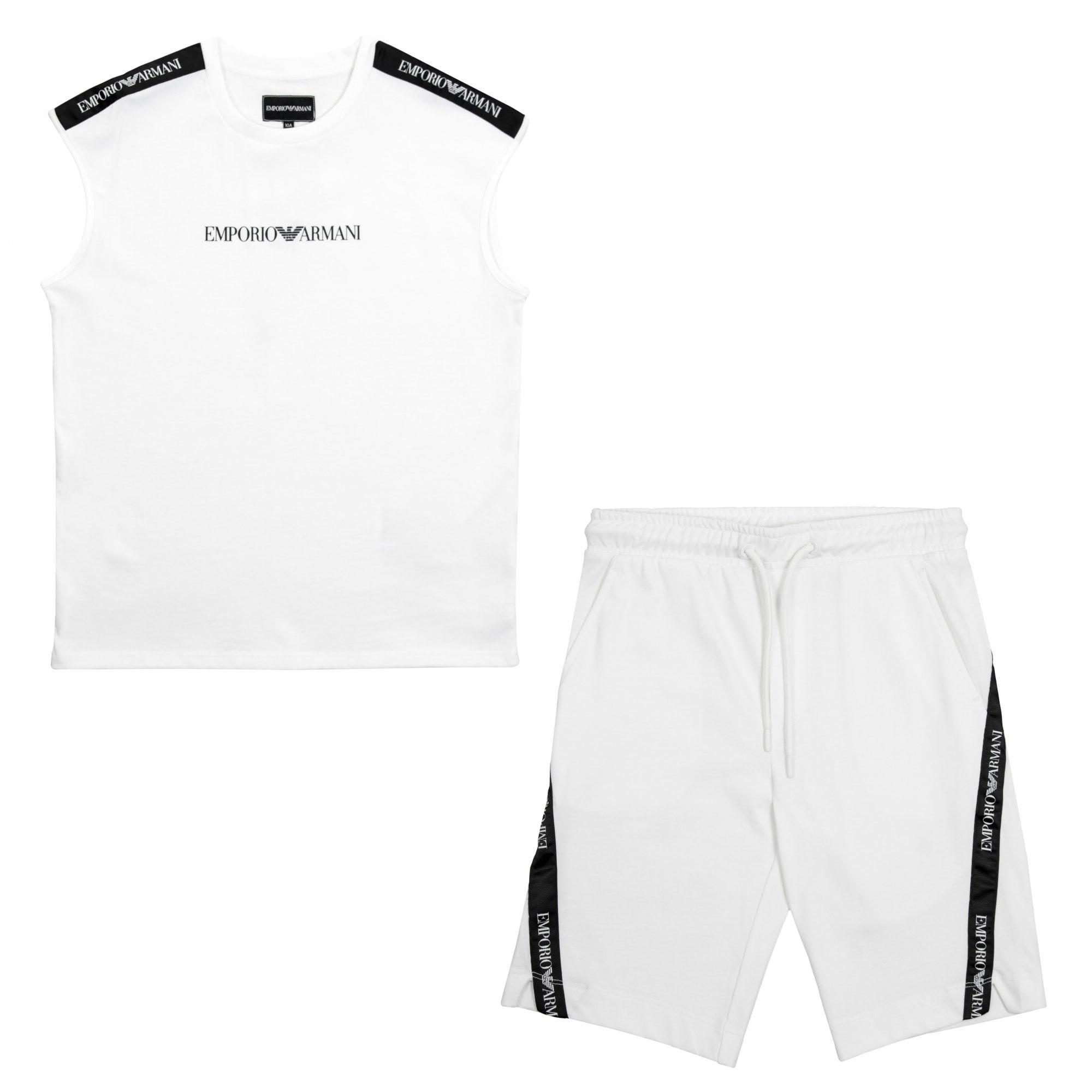 white armani shorts