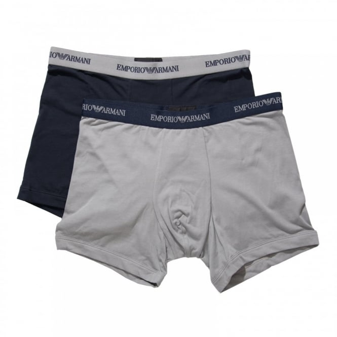 Emporio Armani Mens 2 Pack Stretch Cotton Boxer Briefs (Grey/Marine)