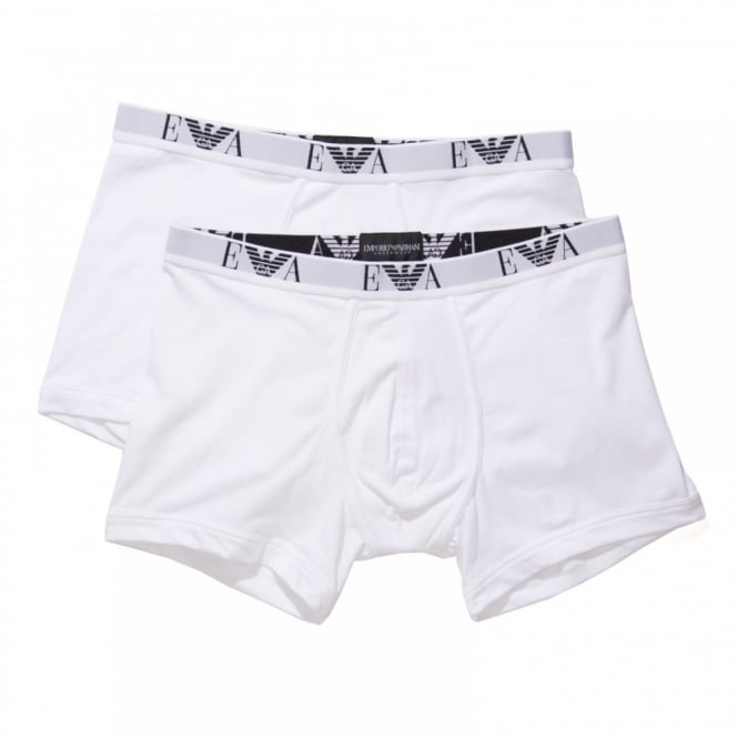 Emporio Armani Mens 2 Pack Stretch Cotton Boxers (White)