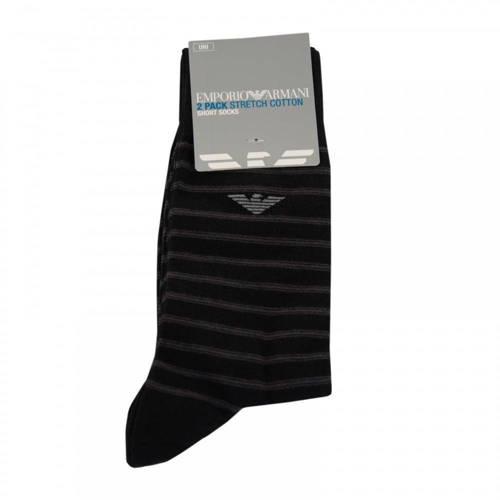 567e90c76c5 EMPORIO ARMANI Emporio Armani Mens 2 Pack Stripe Cotton Socks (Black ...