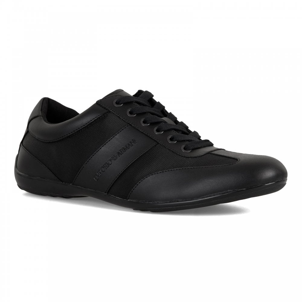 Mens Armani Leather Trainers black Action Emporio wY5xd0aY