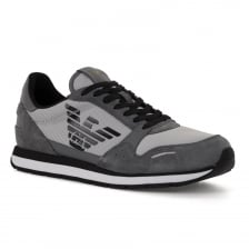 Emporio Armani Mens Big Logo Trainers (Grey)