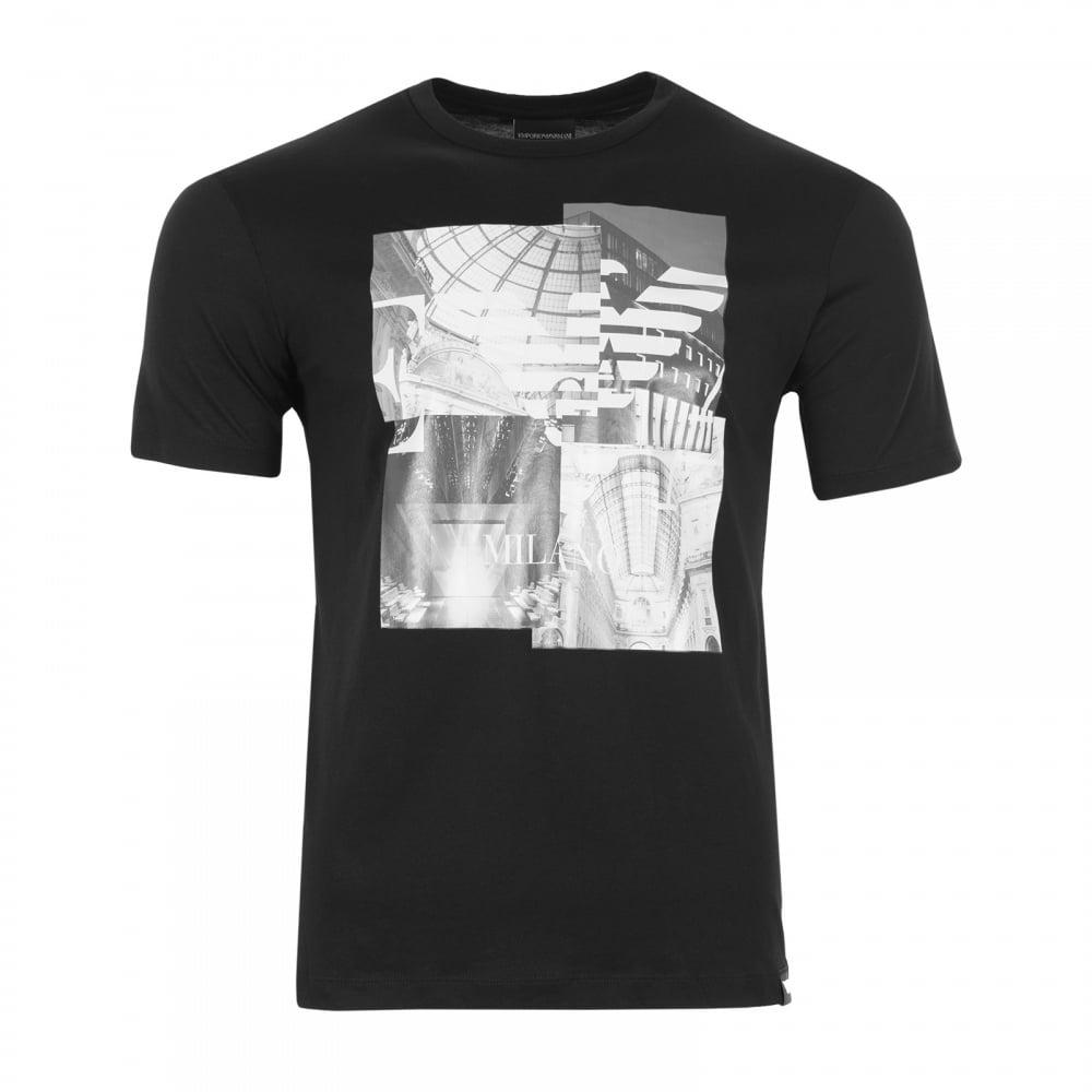 Emporio armani mens building print t shirt black mens for Black armani t shirt