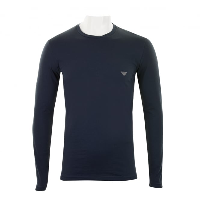 Emporio Armani Mens Embroidered Logo Long Sleeve T-Shirt (Navy)