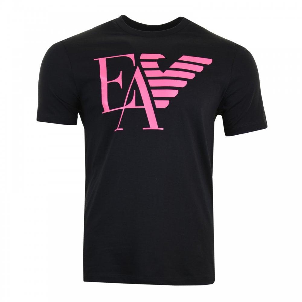 e4e03703 Emporio Armani Mens Large Logo T-Shirt (Black/Pink) - Mens from ...