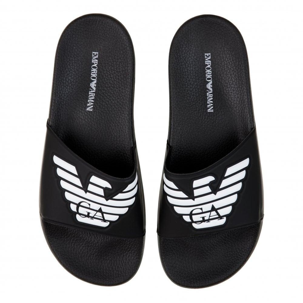 4d3eac205 EMPORIO ARMANI Emporio Armani Mens Logo Slides (Black) - Mens from ...