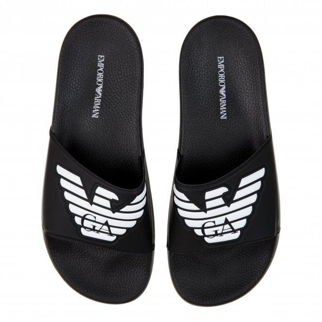 484a8ec99 EMPORIO ARMANI Emporio Armani Mens Logo Slides (Black) - Mens from ...