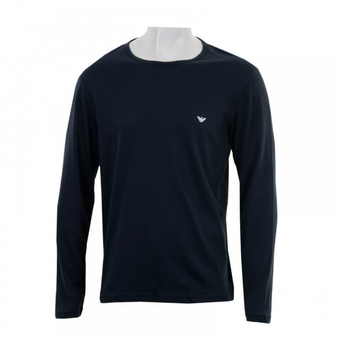 Emporio Armani Mens Long Sleeve Badge T-Shirt (Navy)